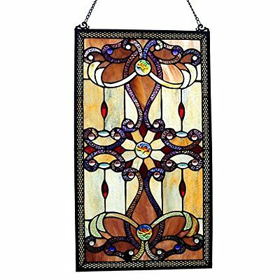 """NEW River of Goods 26"""" Tiffany Style Stained Glass Amber Medallion Window Panel"""