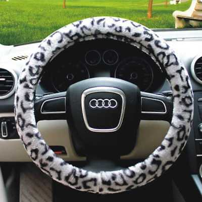 No Inner Ring Elastic Leopard Plush Vehicle Car Steering Wheel Cover Protector