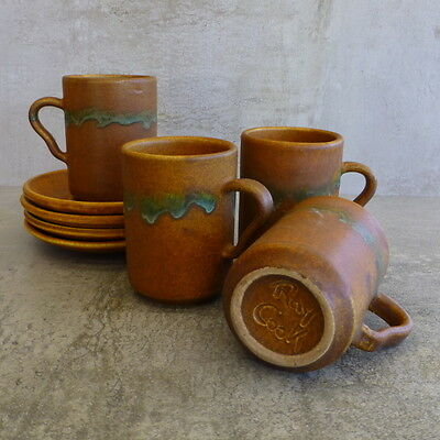 4 Vintage Ray Cook Pottery Cups and Saucers 200mls Australian Studio Pottery 60s