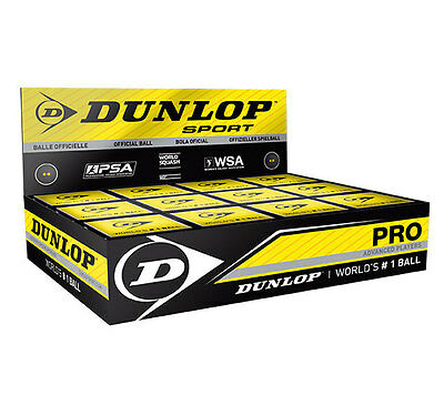 12 x Dunlop Pro Squash Balls Double Dot Yellow - WSF & WSA & PSA Official Ball