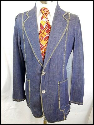 Vintage 70s Blue Cotton Denim Equipments Militaires English Made Blazer Jacket S