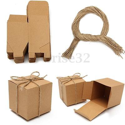 50pcs Kraft Brown Vintage Square Candy Gift Boxes Wedding Birthday Party Favor