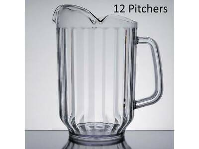 6-Pack Choice 60 oz. Clear Plastic Round Beverage Pitchers w/ 3 Spouts