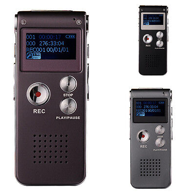 Digital Sound Voice Recorder 8GB Rechargeable Steel Dictaphone MP3 Player Record