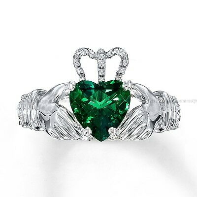 1.92 Ct Green Emerald Heart Claddagh Ring Sterling Silver May Birthstone