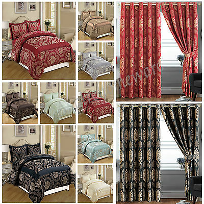 Luxury Bedspread 3Piece Jacquard Quilted Bedspread Comforter Set + Ring Curtains