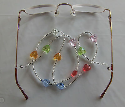 Heart shaped beaded Spectacle Eyeglasses cord chain Lanyard Reading Glasses
