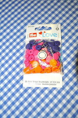 Prym Love Poppers Snaps 30 Pieces Colorful Orange Pink Purple