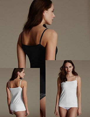 faMouS store 2-Pack WHITE + BLACK Mesh Trim Vest Cami Top Size 8 - 24