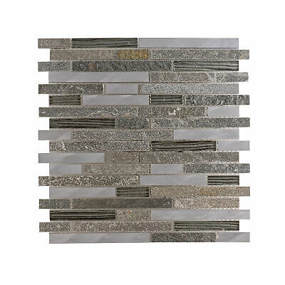 Bedrock Stone Glass Mosaic Tile Bathroom Kitchen 30x30cm