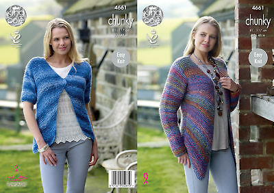 King Cole Womens Chunky Knitting Pattern Long or Short Sleeved Cardigans 4661