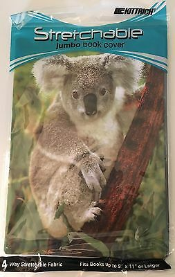 Lot of 2 Stretchable Jumbo Fabric Book Covers for Textbooks 9 x 11 in KOALA BEAR