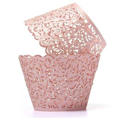 12X Filigree Vine Cake Cupcake Wrappers Wraps Cases Pink DT
