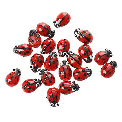20 Red Lampwork Glass Ladybug Ladybird Loose Beads 12mm HOT DT