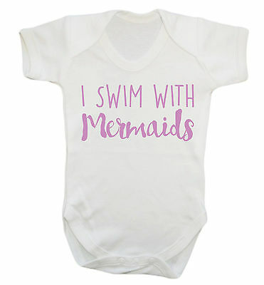 I swim with mermaids baby vest grow unicorn magic fantasy hipster pink cute 1737