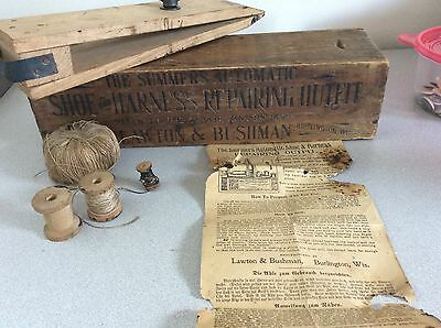 1898 Antique SUMMERS SHOE & HARNESS REPAIRING, Horse / Saddle, Old Wood Box