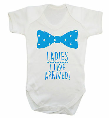 Ladies I have arrived baby vest grow funny cute bow tie hipster pregnancy 1617