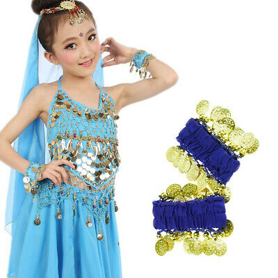 1 PAIR Belly Dance Wear Elastic Wrist Ankle Arm Leg Cuff Hand Bracelet Gold Coin