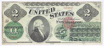 1862 $2 Fr.41 Two Dollar Bill Note Legal Tender National Bank Company U.S.