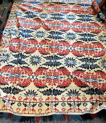 1841 M. Shope Red, White & Blue Coverlet