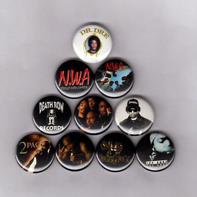 DEATH ROW RECORDS / NWA  - PINS BUTTONS (snoop ice cube 2pac shirt poster print)