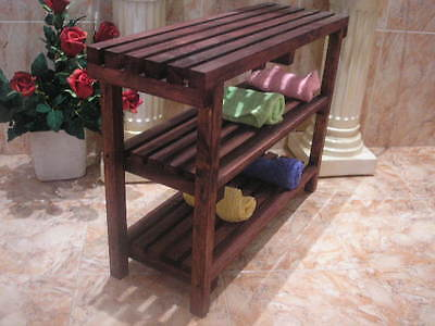 BENCH STOOL with SHELVES, colour mahogany, 75 cms. solid