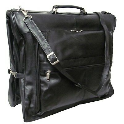 Cowhide Leather 3-Suit Garment Bag-Fashionable & Practical Travel Luggage
