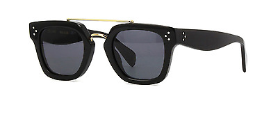 Celine CL 41077/S 807 BN Sunglasses Black Gold Frame Gray Gradient Lenses 47mm