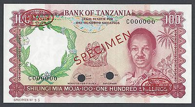 Tanzania 100 Shillings ND 1966 P4s Specimen TDLR Uncirculated