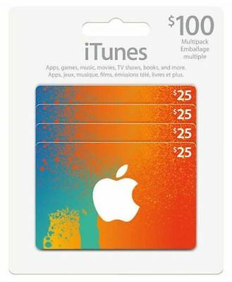 Canadian iTunes Cards 4X$25 $100 total value FAST Delivery!! PLAY RUSH WARS!!!