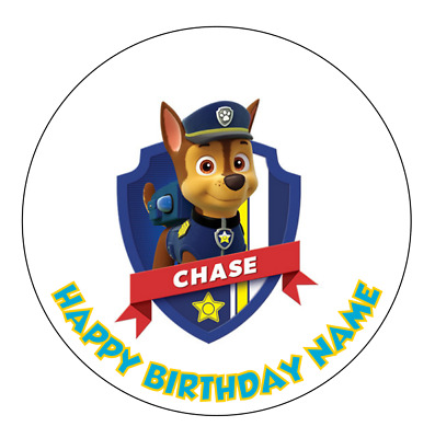 Paw Patrol Chase Personalised Edible Birthday Party Cake Decoration Topper Image