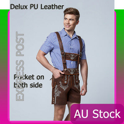 Deluxe Mens Lederhosen Oktoberfest Costume Octoberfest Bavarian German Beer Hat
