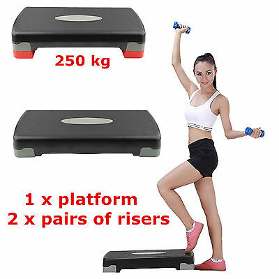 Aerobic Step Fitness Board Exercise Stepper Platform GYM Block + pairs of risers