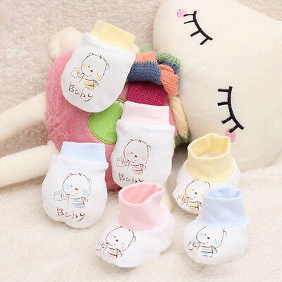 Infant Newborn Cartoon Baby Anti-grasping Protection Face Boy Girl Cotton Gloves
