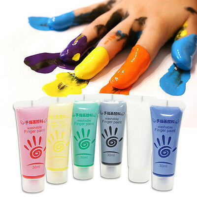 Non-Toxic Kids Washable Finger Paints Box with Brushes Roller Palette Sponges