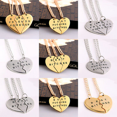 Best Friend Gold/Silver Chain Broken Heart Pendant Necklace BFF Gifts Charms