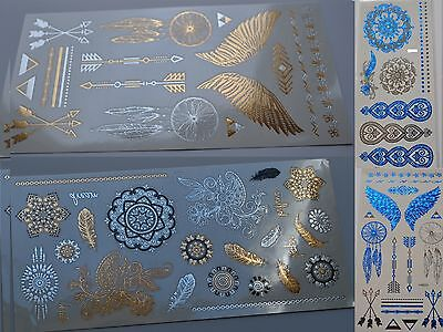Metallic Gold Silver Flash Tattoos Holographic Henna Mehndi Indian Boho Aztec