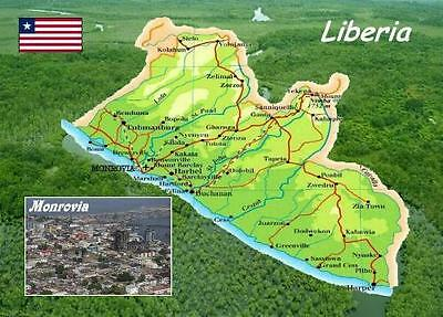 Liberia Country Map New Postcard