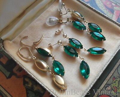 Sparkly EMERALD GREEN EARRINGS vintage Rhinestones - St. Patrick's Day 14K GF