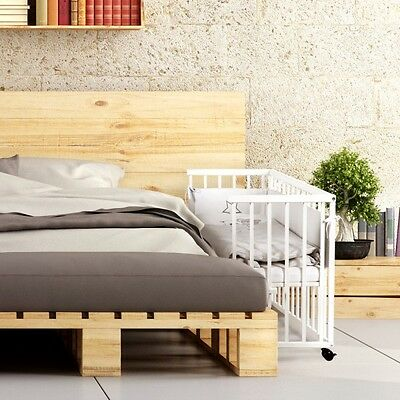 Baby Child Classic White Bedside Cot Next To Me +Mattress + 7Psc Bedding Set