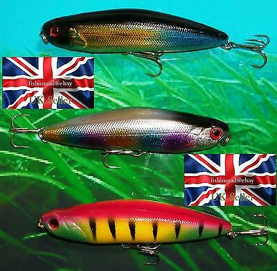 3 X 18g 100mm RATTLING FLOATING LIPLESS WIGGLER LURES BASS PIKE FISHING
