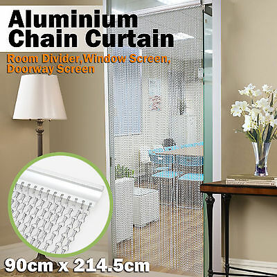 Aluminium Metal Chain Fly Pest Insect Door Screen Curtain Control SILVER
