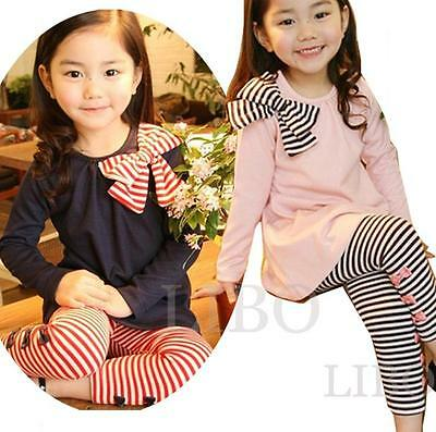 Ensemble Survetement mode Enfant Fille bowknot T-shirt haut + Pantalons legging