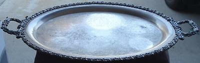 Beautiful Silver Plate Handled Serving Tray - VGC - LARGE SIZE - GREAT OLD TRAY