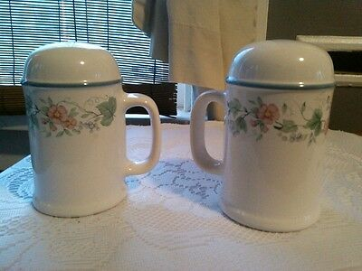 Porcelain Pair of Salt and Pepper Shakers Made In Japan Country Floral 4 1/2""
