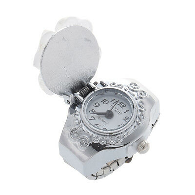 Practical Superior White Clover Round Dial Finger Ring Quartz Watch For LadyN3