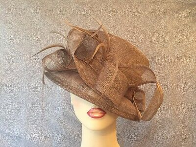 Ladies Formal Occasion Wedding Hat Loops & Feathers Coffee Colour