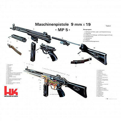Heckler Koch HK MP5 Cut-out Schematic Vintage Reproduction German Poster ARMORER