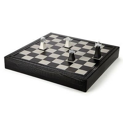 NEW Renzo Luxor Black Crocodile Leather Chess Set