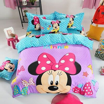 Minnie Mouse Queen Size Bed Quilt/Doona/Duvet Cover Set Polyester Pillowcase 3PC